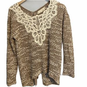Anthropologie a'reve l/s knit top sz L